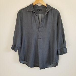 Zara Woman Charcoal Grey Chambray Blouse Shirt M